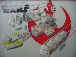 Star Wars Y-wing cross section by zanderwitaz