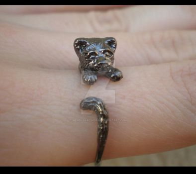 Unique Handmade Black Cat Ring by WendysArtwork