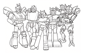 Copbot Lineup Lineart by crawdadEmily