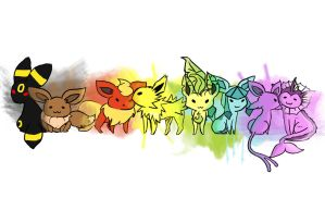 .: Eeveelution Rainbow :. by spiderettes