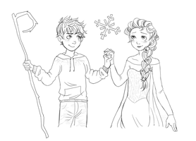 Commission example - Jack Frost and Elsa by blushingbats