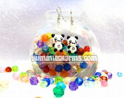 Full bodied Panda Earrings by xlilbabydragonx