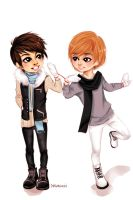 Art Trade: Jjong and Onew by OyasumiHachi