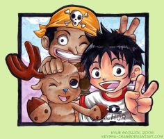 Straw Hat Kiddy trio by KeyshaKitty