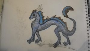 Blueandbrowndragonsketch by lazuli-dragon