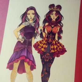 Raven Queen and Lizzie Hearts - Ever After High by Josilix