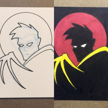 Robin the animated series Sketch Card by JK-Antwon