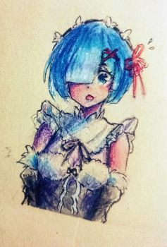 Rem (watercolor+ coloring pencil) by HoldSpaceShift