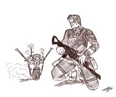 Clap Trap and Axton by AngelAngelyss