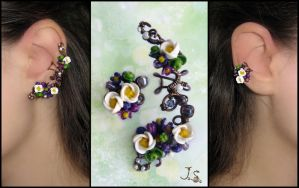 Floral earcuff and stud by JSjewelry