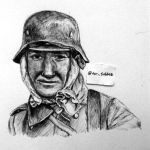 Face of War (ballpoint pen drawing) by DeoKristady