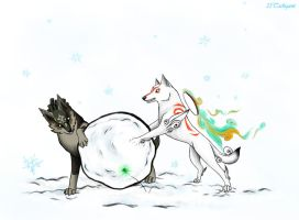 Ammy and Link_Winter Fun by 25Tachigami