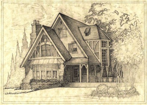 House 300 Shaded Perspective Sketch by Built4ever