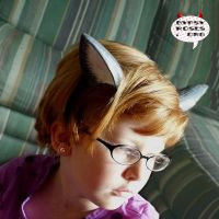 Custom Gray White Bakeneko Ears by che4u