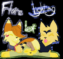 Pixel thingy - Flare, Leaf, and Lightning by caseVIRUS
