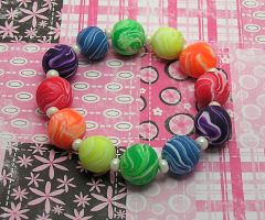Crazy Bright Rainbow Bracelet by lavadragon