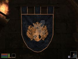 A rounded banner with Castle Rochse's Crest by elvenphilosophy