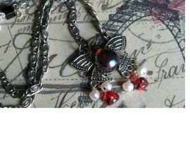 Butterfly with freshwater pearl/red dangles SALE by artistiquejewelry