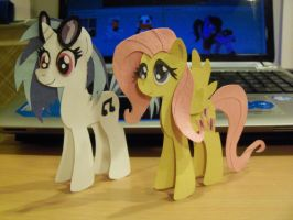 Vinyl Scratch and Fluttershy Paper Cutout by LeLe37