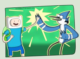 Finn the human and Mordecai by Mordekhay33