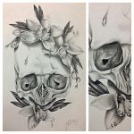 skull and orchids by jadexx