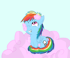 Dashie in a Cotton Candy Cloud by asluc96