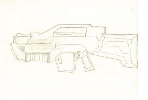 Frist attempt at drawing a plasma rifle  by sabresteen