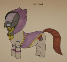 Tali'Zorah Pony by IronBrony