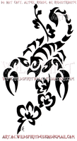 Scorpion And Orchids Tribal Design by WildSpiritWolf