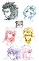 Fairy Tail Head Sketches by aLyTeh