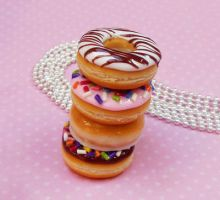 polymer clay miniature doughnut necklaces by ScrumptiousDoodle