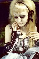 black and white striped girl by BlueVADIM
