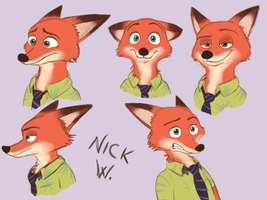 Zootopia - Sketches of Nick by IcelectricSpyro