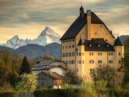 Goldenstein Castle And Mount Watzmann by Burtn