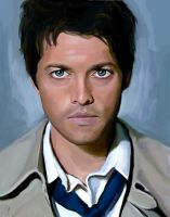 Misha Collins as Castiel by klost004