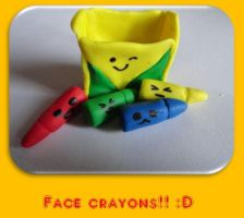 Colored face crayons! :D by JulissaRdgz