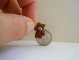 OOAK miniature micro cute brown fuzzy jointed bear by tweebears