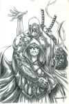 Deadpool and Mistress Death (pencils) by emmshin