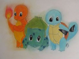 1st Gen Starter Pokemon by StarlingKia