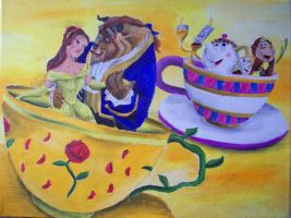 Beauty and the Beast in Tea Cups by billywallwork525
