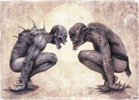 'The Staring Contest' Christopher Lovell Art by Lovell-Art