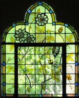 Stained glass window flowers leaves by rdwGlass