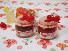 Strawberry Jam Jar Earrings by PoniesOfDOOOM