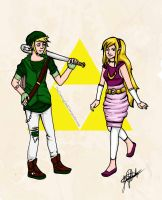 Modern Link and Zelda by TheDrawingGeek