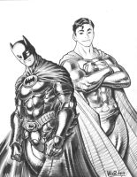 BATMAN + SUPERMAN sketch by AdamWarren