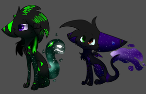 the kids of neon and rainstar by enterdragongalaxy