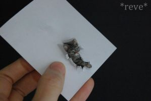 Miniature Tabby Cat * Handmade Sculpture * by ReveMiniatures