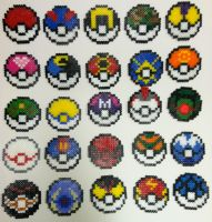 Perler Bead Pokeballs by thewiredslain