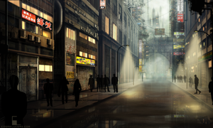 Urban Streets in a Futuristic City by Aeflus