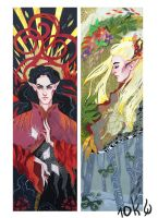 Tolkien bookmarks: Feanor and Thranduil by sassynails